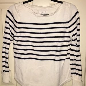 NWT. Loft Size S boat neck striped sweater